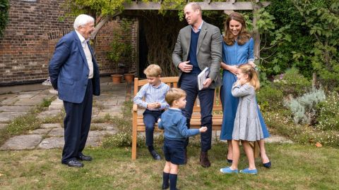 """The royal family <a href=""""https://edition.cnn.com/2020/09/26/uk/david-attenborough-prince-george-fossilized-tooth-scli-intl-gbr/index.html"""" target=""""_blank"""">meets with naturalist David Attenborough</a> at Kensington Palace in London, in September 2020, after a private screening of Attenborough's latest environmental documentary, """"A Life On Our Planet,"""" which focuses on the harm that has been done to the natural world in recent decades."""