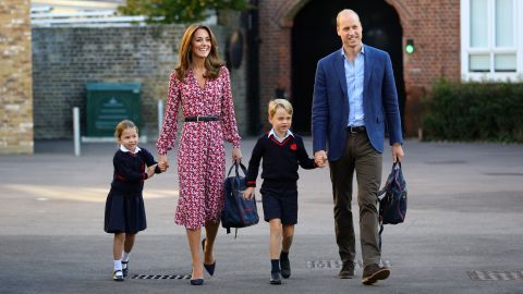 """William and Kate escort Princess Charlotte, accompanied by her brother, Prince George, as Charlotte arrives for <a href=""""https://edition.cnn.com/2019/09/05/uk/princess-charlotte-school-gbr-intl/index.html"""" target=""""_blank"""">her first day of school</a> at Thomas's Battersea in London, on September 5, 2019."""