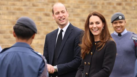 """William and Kate visit 282 East Ham Squadron, Air Training Corps, in East London on April 21. During the visit, the squadron paid tribute to the <a href=""""http://www.cnn.com/2021/04/09/world/gallery/prince-philip/index.html"""" target=""""_blank"""">late Prince Philip</a>, the Duke of Edinburgh, who served as Air Commodore-in-Chief of the Air Training Corps for 63 years."""