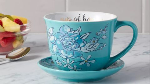Opalhouse Stoneware Cup of Happy Cup and Saucer Set