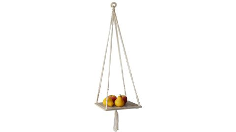 Macramé Plant Hangers With Wooden Tray Plate Hanging Planter