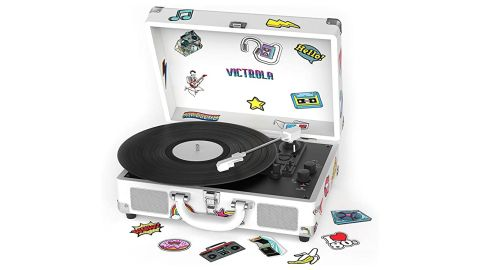 Victrola Bluetooth Suitcase Turntable Canvas With Custom Stickers and Stencils