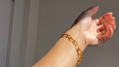 Please Repeat Small Hex Link Bracelet