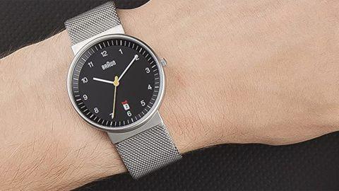 Braun Black Dial Analog Quartz Watch With Silver Mesh Bracelet
