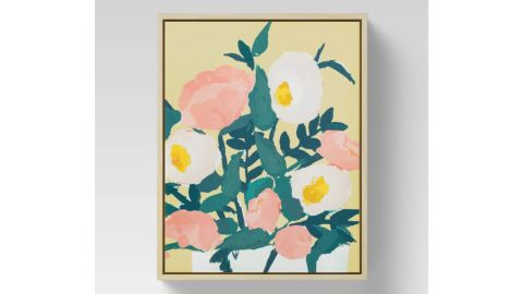 """Oplahouse """"Yellow Floral"""" Framed Canvas"""