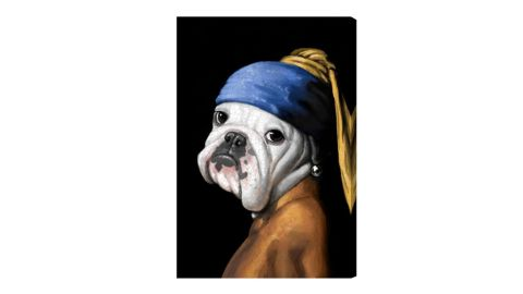 """Oliver Gal """"Dog with the Pearl Earring"""" Canvas Wall Art"""