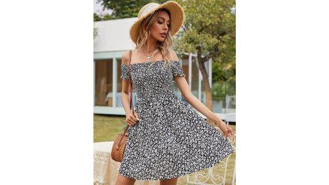 Romwe Casual Floral Print Off-Shoulder Swing Dress