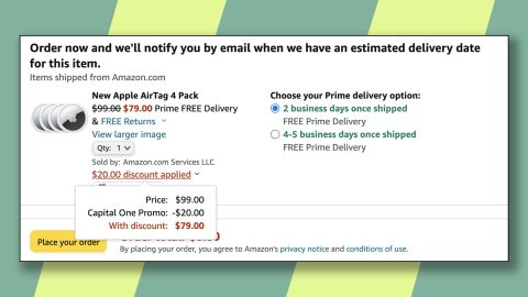 Save an extra $20 on a 4-pack of Apple AirTags with the Capital One discount.