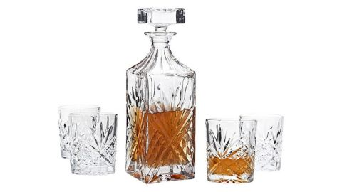 Godinger Silver Art Co. Scotland 5-Piece Crystal Whiskey Decanter Set