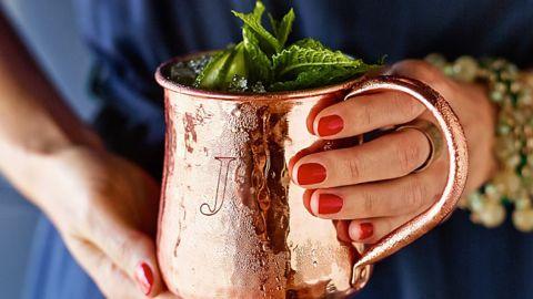 Hammered Solid Copper Monogrammed Mug