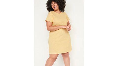 Striped Slub-Knit Waist-Defined Plus-Size T-Shirt Dress