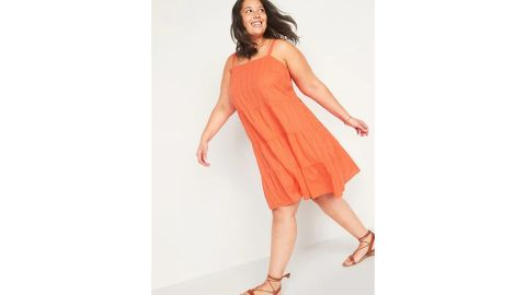 Sleeveless Tiered Dobby Plus-Size Swing Dress