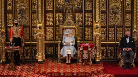 """The Queen opens Parliament in May 2021. It was <a href=""""https://www.cnn.com/2021/05/11/uk/queens-speech-2021-scli-gbr-intl/index.html"""" target=""""_blank"""">her first major engagement since her husband's death.</a>"""