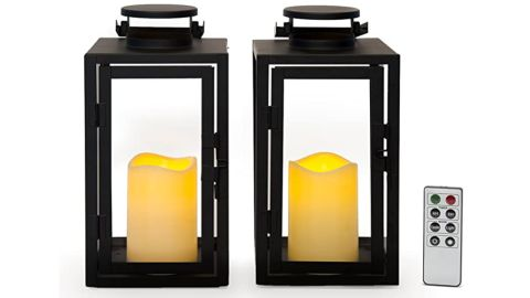 LampLust Outdoor Flameless Black Candle Lanterns