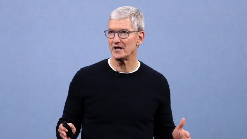 Apple CEO Tim Cook delivers the keynote address during a special event on September 10, 2019 in the Steve Jobs Theater on Apple's Cupertino, California campus. Apple unveiled several new products including an iPhone 11, iPhone 11 Pro, Apple Watch Series 5 and seventh-generation iPad.  (Photo by Justin Sullivan/Getty Images)