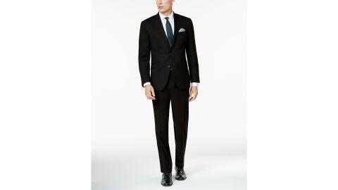 Kenneth Cole Reaction Men's Ready Flex Solid Black Slim Fit Suit