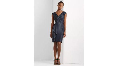Lauren Ralph Lauren Ruffle-Trim Metallic Cocktail Dress