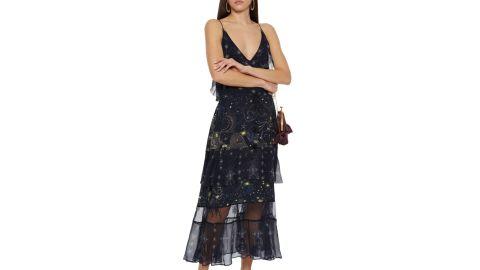 Camilla Tiered Georgette-Paneled Embellished Silk Crepe de Chine Dress