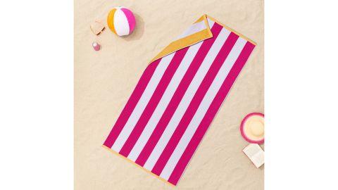 Sun Squad Reversible Cabana Striped Beach Towel