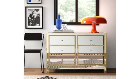 Gold Flamingo Cain 6-Drawer Dresser