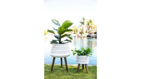 Flora Bunda Tribal Midcentury Plant Pot Set on Wood Stand