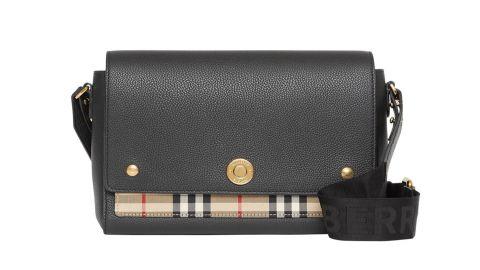 Burberry Note Medium Leather & Vintage Check Crossbody Bag