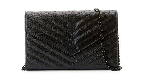 Saint Laurent Monogramme Grain de Poudre Leather Wallet-on-Chain