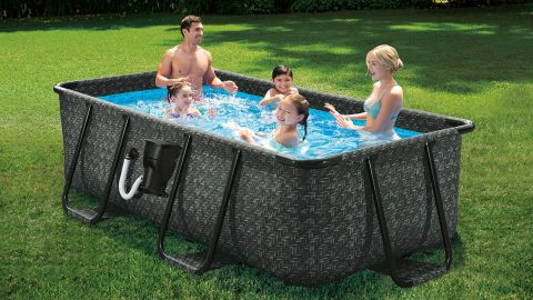 Summer Waves Herringbone Print Above-Ground Pool With Filter Pump and Ladder