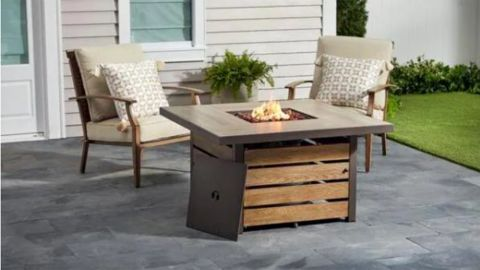 Summerfield Square Steel Propane Fire Pit With Wood-Look Tile Top