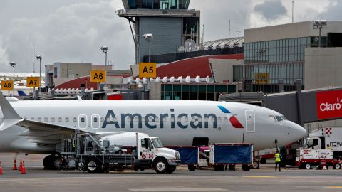 An American airlines airplane is seen at the Juan Santa Maria airport in Alajuela, Costa Rica, on May 28, 2021. - Costa Rica is experiencing its most critical moment since the Covid-19 pandemic breakout, in March 2020, but maintains an encouraging outlook for its economic reactivation.