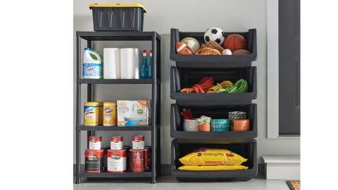Black 4-Tier Plastic Garage Storage Shelving Unit