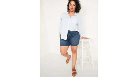 Old Navy Extra High-Waisted Secret-Slim Pockets Sky Hi Button-Fly Plus-Size Jean Shorts — 7-Inch Inseam