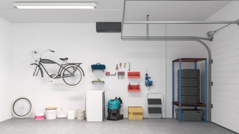 Inside contents of an organized garage.