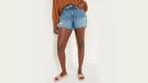 Old Navy High-Waisted O.G. Straight Ripped Cut-Off Jean Shorts — 3-Inch Inseam