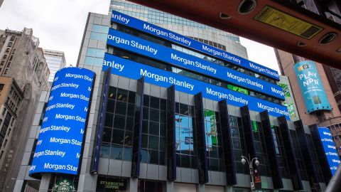 Signage outside of Morgan Stanley headquarters in New York, U.S., on Friday, April 9, 2021. Morgan Stanley is scheduled to release earnings figures on April 16. Photographer: Jeenah Moon/Bloomberg via Getty Images