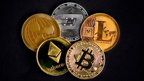 The photo shows physical imitations of cryptocurrency in Dortmund, western Germany, on January 27, 2020. (Photo by INA FASSBENDER / AFP) (Photo by INA FASSBENDER/AFP via Getty Images)
