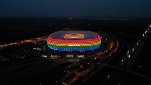 """MUNICH, GERMANY - JANUARY 30: A drone image shows the Allianz Arena soccer stadium illuminated in rainbow colours during the Bundesliga match between FC Bayern Muenchen and TSG Hoffenheim on January 30, 2021 in Munich, Germany. On the occasion of the """"Remembrance Day in German Football"""", FC Bayern wants to send a signal against discrimination and raise awareness for more tolerance in our society. (Photo by Alexandra Beier/Getty Images)"""