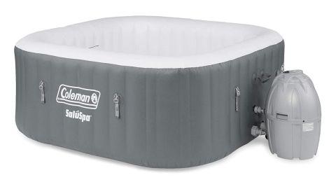 Coleman SaluSpa 4-Person Square Portable Inflatable Outdoor Hot Tub Spa
