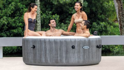 Intex PureSpa Greywood Deluxe 4-Person Portable Inflatable Hot Tub Jet Spa