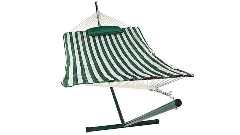 Sunnydaze Striped Rope Hammock with Stand