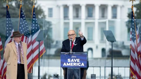 Giuliani speaks to Trump supporters near the White House on January 6, 2021. Later that day, pro-Trump rioters breached the Capitol.