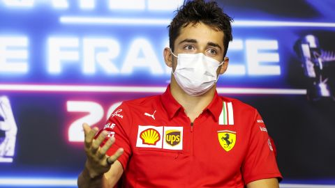 LE CASTELLET, FRANCE - JUNE 17: Charles Leclerc of Monaco and Ferrari talks in the Drivers Press Conference during previews ahead of the F1 Grand Prix of France at Circuit Paul Ricard on June 17, 2021 in Le Castellet, France. (Photo by Antonin Vincent - Pool/Getty Images)