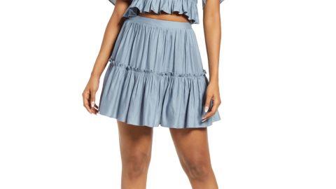 Lulus Tiered Ruffle Linen & Cotton Miniskirt