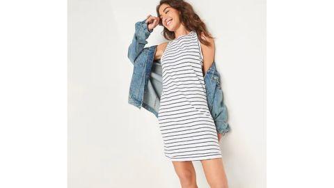 Vintage Sleeveless Striped T-Shirt Midi Shift Dress
