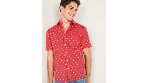 Built-In Flex Everyday Printed Short-Sleeve Shirt