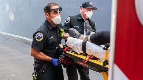 Paramedics respond to a heat-exposure call in Salem, Oregon, on Saturday.
