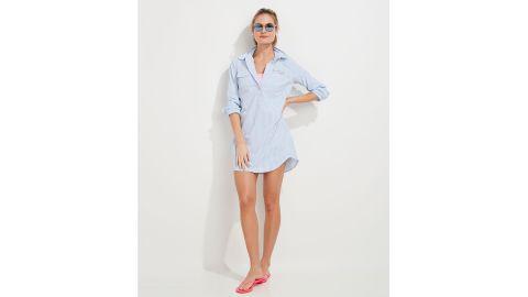 Vineyard Vines Harbor Seersucker Long-Sleeve Cover-Up Shirtdress