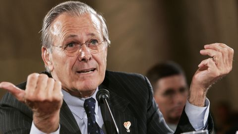 FILE - JUNE 30, 2021: According to his family, former U.S. Secretary of Defense Donald Rumsfeld has passed away. WASHINGTON - JUNE 23:  Secretary of Defense Donald Rumsfeld gestures as he testifies during a hearing before the Senate Armed Services Committee June 23, 2005 on Capitol Hill in Washington, DC. The hearing was focused on U.S. military strategy and operations in Iraq.  (Photo by Alex Wong/Getty Images)