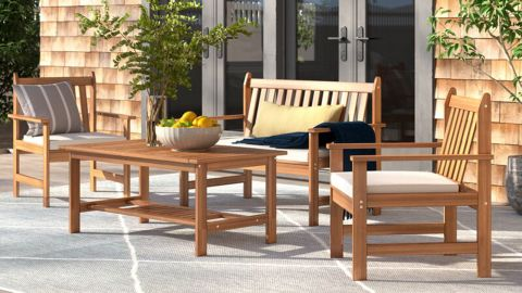 Lark Manor Joliet Solid Wood Seating Group