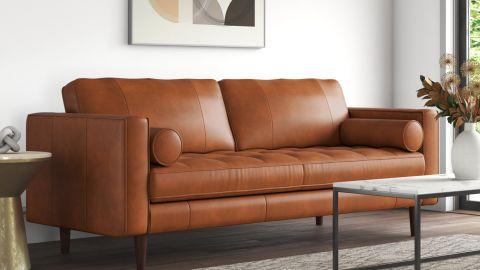 Mercury Row Apgar Genuine Leather Square Arm Sofa